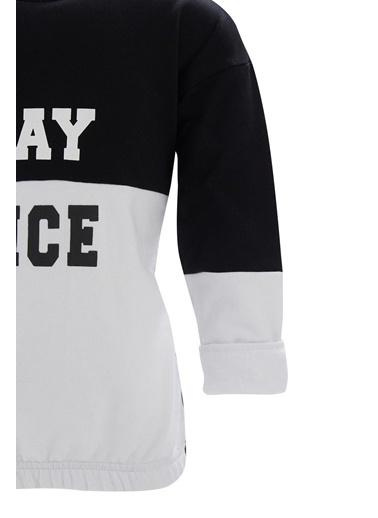 Defacto –Fit Kız Çocuk Renk Bloklu Yazı Baskılı Sweatshirt Siyah